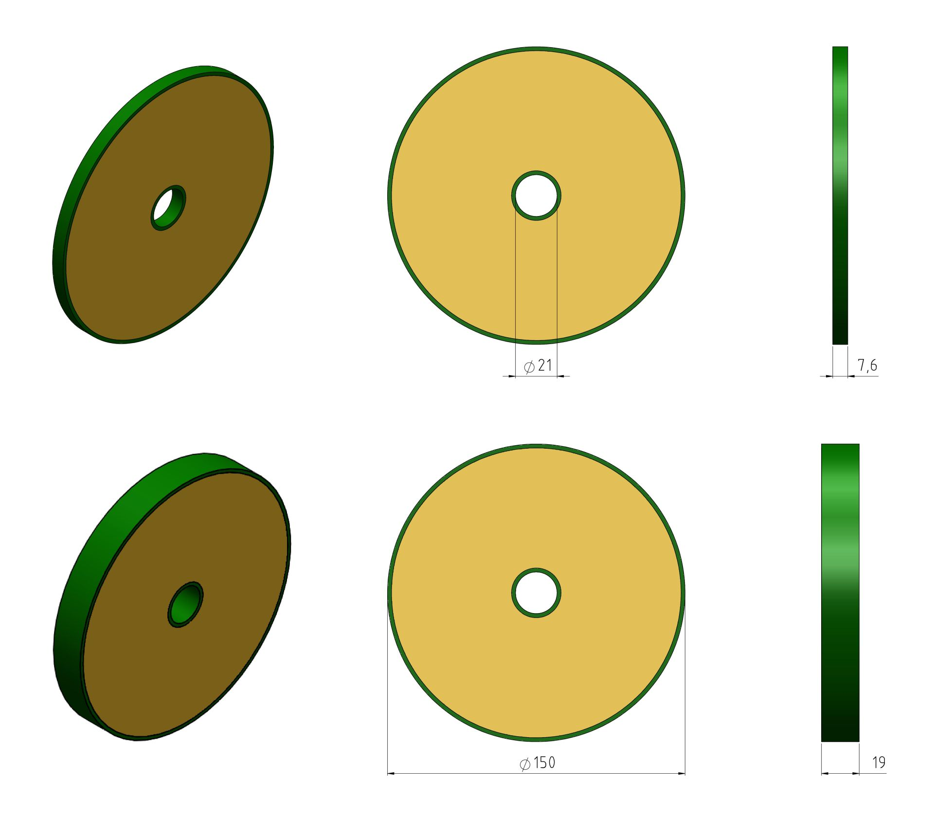 Discs 150mm Example Drawings