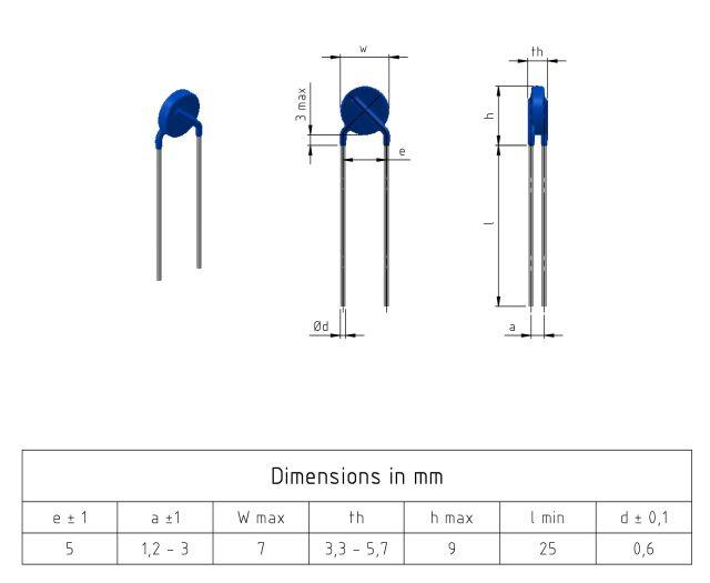 Drawing 5mm ZnO Varistor